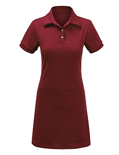Se Réunir Californie Femmes Manches Courtes Robe Polo - Made In Usa Wdr1379_wine