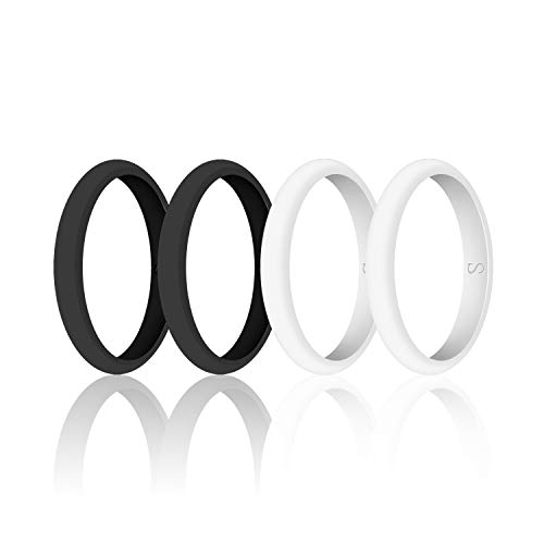 (SANXIULY Womens Wedding Silicone Ring& Thin Rubber Wedding Bands for Workout and Sports Width 3mm Pack of 4 Size)