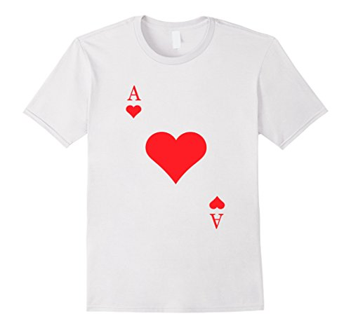 Mens Ace Of Hearts Costume Shirt - Funny Halloween Gift Tshirt Large (White T Shirt Costumes For Halloween)