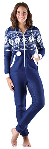 Frankie & Johnny Women's Sleepwear Brushed Fleece Ribbed Non-Footed Onesie Pajama, Navy (FJ1019-1076-LRG) -