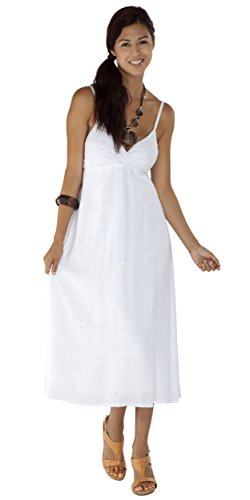 1 World Sarongs Womens Long Summer Embroidered Dress in White - Lined Large