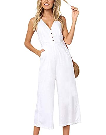 fa9bef20dc3b ECOWISH Womens Jumpsuits Casual Button Deep V Neck Sleeveless High Waist  Wide Leg Jumpsuit Rompers with