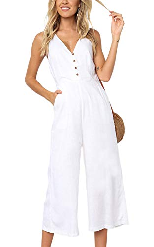 ECOWISH Womens Jumpsuits Casual Button Deep V Neck Sleeveless High Waist Wide Leg Jumpsuit Rompers with Pockets 103 White M
