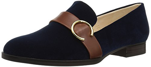 Nine West Womens Huff Loafer Flat Navy/Cognac Fabric