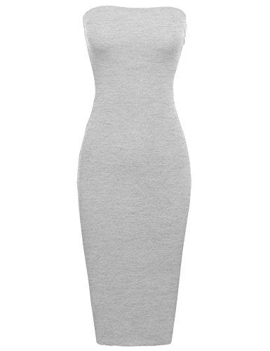 Sexy Comfortable Tube Top Body-Con Midi Dress in Heather Grey L ()