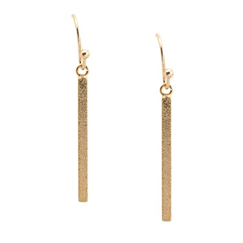 Spinningdaisy Handmade Brushed Metal Dangling Vertical Bar Earrings Gold