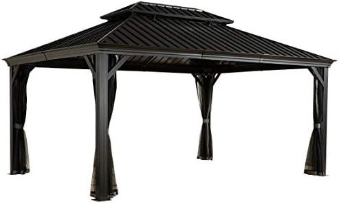 Sojag Messina - Pérgola de techo rígido, 3, 65 x 4, 85 m (color: antracita): Amazon.es: Jardín