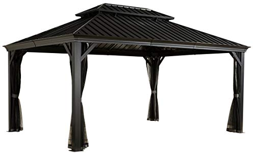 Sojag Messina Hard Top Sun Shelter 12#039 by 16#039 Charcoal