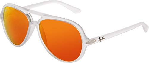 (Ray-Ban CATS 5000 - MATTE TRANSPARENT Frame CRYSTAL BROWN MIRROR ORANGE Lenses 59mm Non-Polarized)