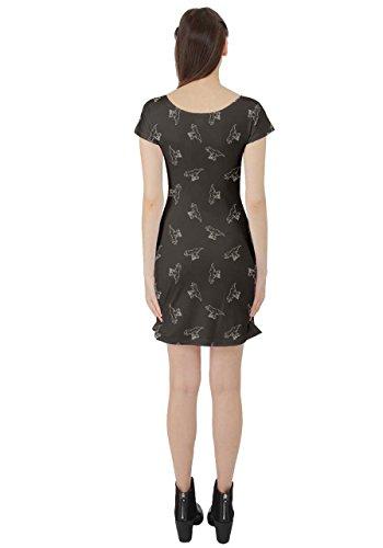 Black Stylish Dress 5XL Sleeve CowCow Dinosaur XS Pattern Womens Silhouettes Cap wCqvq7Zx