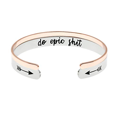 MS.CLOVER Encouragement Gifts for Women, Do Epic Shit High School College Inspirational Uplifting Bracelet, Funny Gifts Graduation Gift]()