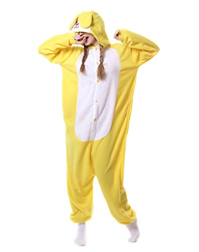 EONDEAR Unisex Bunny Rabbit Costumes Pyjamas Adult Women Men Animal Cosplay Onesie (Small, Yellow)