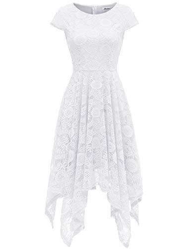 AONOUR AR8009 Women's Floral Lace Cap Sleeve Handkerchief Hem Cocktail Party Swing Dress White S (Cap Sleeve Lace Cap)