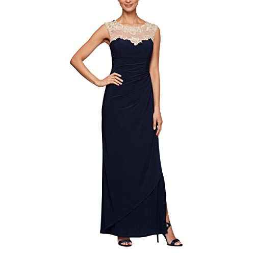 - Alex Evenings Women's Long Cap Sleeve Side Ruched Dress (Petite and Regular Sizes), Navy/Nude, 8P
