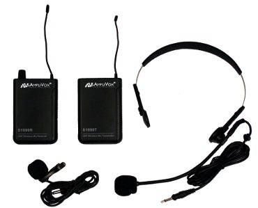 Amplivox S1601 UHF Wireless Headset/Lapel Microphone with 16-Channel Kit Receiver from Amplivox