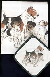 Pipsqueak Productions DP857 Dish Towel and Pot Holder Set - Fox Terrier Wire by Animal Den