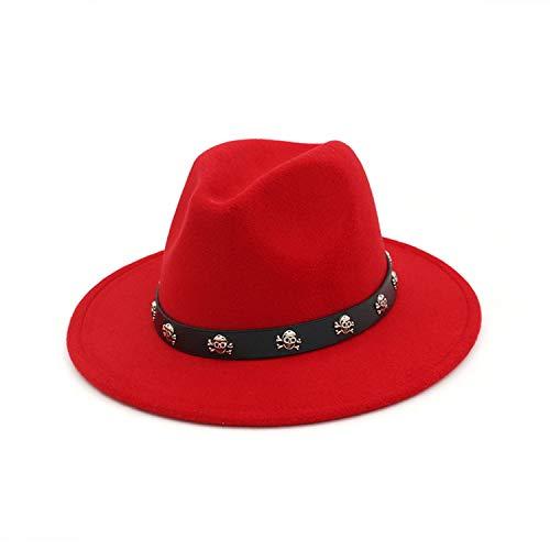 - Vintage Wool Felt Fedora Hat Skull Rivet Leather Decoration Men Women Panama Jazz Formal Top Hat Red