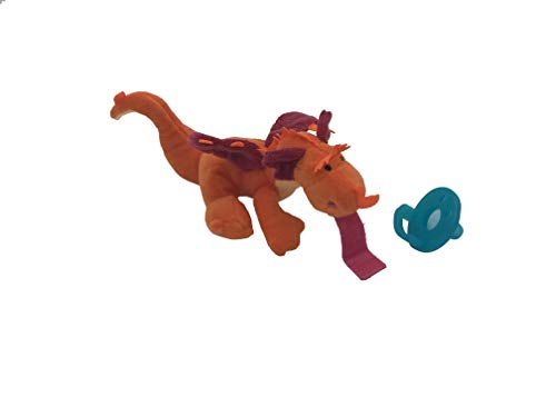 LuLu Pal Baby Pacifier Holder | Soft Plush Newborn Toys | Stuffed Animals for Infants and Kids | Soother | (Flapz Dragon)