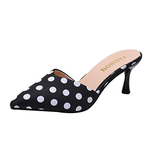 JJLIKER Women's Polka Dot High Heel Sandals Slippers with Bowknot Slippers Slip on Shoes Stiletto Pump Dress Sandal