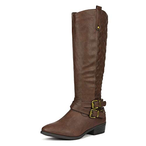 DREAM PAIRS Women's BAR Brown Knee High Boots Size 10 B(M) (Best Dream Pairs Boots For Women)