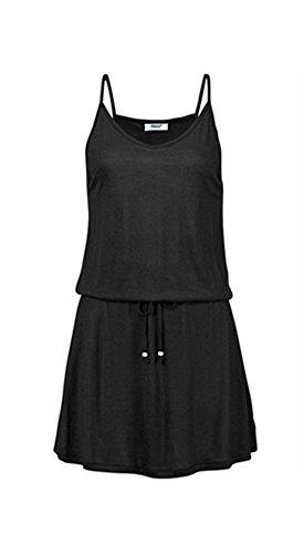 Drawstring Neck Dress (Women's Vintage Sundress V-Plunge Neck Straps Drawstring Cocktail Mini Dress (M,)