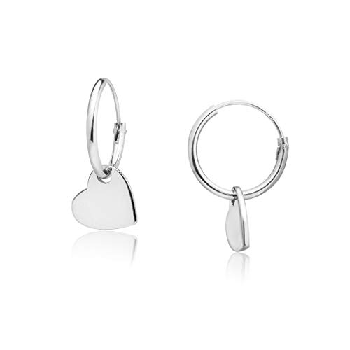 Big Apple Hoops - Genuine 925 Sterling Silver ''Basic and Simple'' Lightweight Heart Dangle Hoop Earrings | 3 High Polish Mirror Finishes (Silver, Yellow Gold, Rose - Dangle Helix