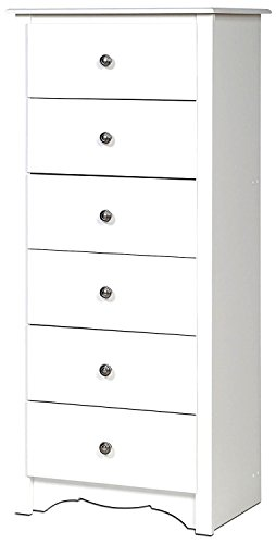 White Dresser Chest 6 Drawers Tall Narrow Modern Wooden Single Baby Kids Dresser Drawer Storage for Dorm Closet Bedroom and Nursery Room & eBook by Easy&FunDeals ()