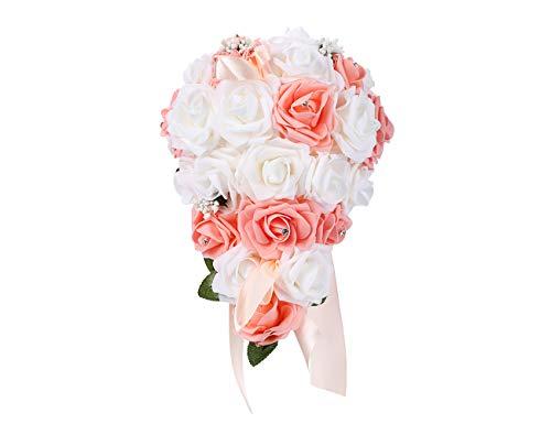 (Bodarind Rose Waterfalls Design Artificial Flowers Rose Rhinestone Bridal Bouquet for Wedding (Lotus))