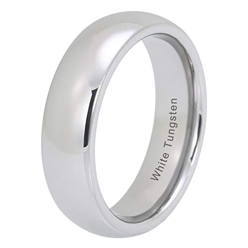 - iTungsten 4mm 6mm 8mm White Tungsten Carbide Rings For Men Women Wedding Bands Platinum Plated Comfort Fit