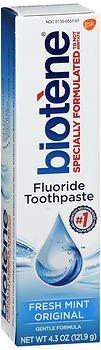 Biotene Gentle Formula Fluoride Toothpaste, Fresh Mint 4.3 oz (Pack of 2)