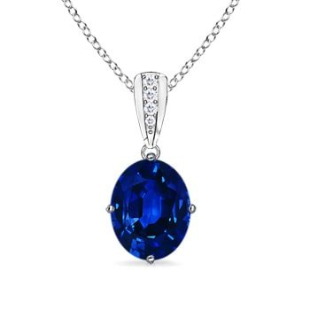 Angara Natural Blue Sapphire Necklace in Platinum luW4x