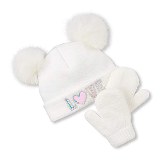 The Children's Place Baby Girls POM HAT and Mitten Set, SIMPLYWHT, S (12-24 MOS)