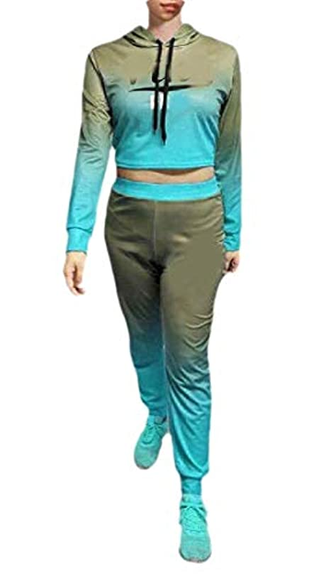 塗抹驚いたことに合法maweisong 女性スポーツ2ピース衣装bodyconクロップトップロングパンツトラックスーツセット
