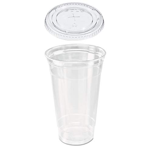 50 count 32 oz. Clear Plastic Cup and Flat Straw Slotted Lid, Dart Solo w/ 10