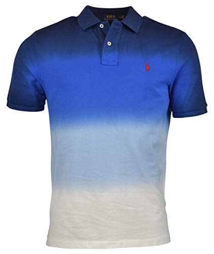 - RALPH LAUREN Polo Men's Graduated Dip Dyed Classic Fit Cotton Mesh Polo Shirt (Navy/White, Small)
