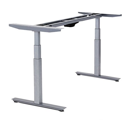 Rise UP Electric Adjustable Height Width Standing Desk Legs Frame Base. Ergonomic Motorized sit to Stand up Home Commercial Office Table. Dual 2 Motors. 4 Programmable Memory. Gray