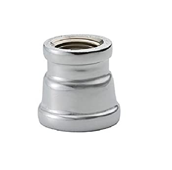 "Chrome Plated Brass Pipe Fitting, Reducing Coupling, 3/4"" X 1/2"" NPT Female"