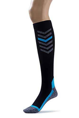 Silky Toes Compression Socks for Men & Women (20-30 mmHg) Athletic Fit for Running, Nurses, Shin Splints, Flight Travel & Maternity Pregnancy (Multi Pack- Grey/Blue/Black, Medium) by Silky Toes (Image #2)