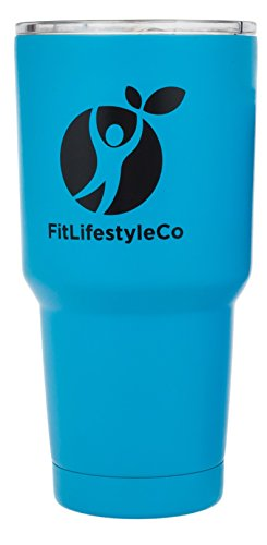 30 OZ Tumbler Stainless Steel Double Wall Insulated Travel Mug - with Clear Lid, for Hot Coffee Tea or Cold Beverage / Drink - Colored Cup (30 ounce, Color Light Blue)
