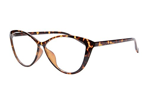 Ladies Cateye Glasses Frames Progressive Multi Focus Clear Lens Computer Reading Glasses-5865(demi brown, up 1.00 down - Glasses Frames Cateye