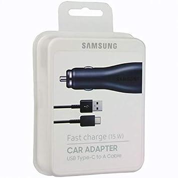Cargado Coche Original Samsung EP-LN915U Carga Rápida Tipo-C para Galaxy S8, S8+, Note 8. Negro, Blister