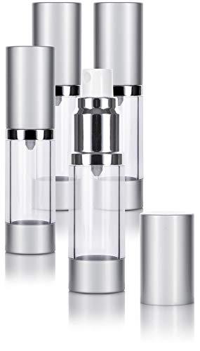 Airless Spray Bottle Silver Matte - 0.5 oz (4 Pack)