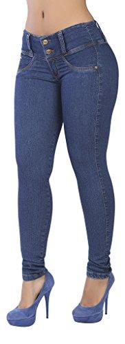 Curvify 765 Premium Women's Enhanced Butt Liftting Skinny Jeans Indigo Washed 13