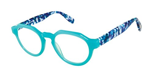 Hampton Place - Round Trendy Fashion Reading Glasses for Men and Women - Bahama Blue (+2.50 Magnification Power)