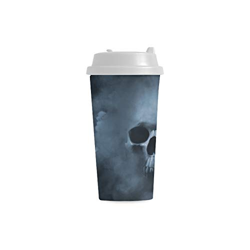 Skull Cool Bone Scary Tattoo Custom Personalized Printing 16 Oz Double Wall Plastic Insulated Sports Water Bottle Cups Commuter Travel Coffee Mugs For Student Women Milk Teacup