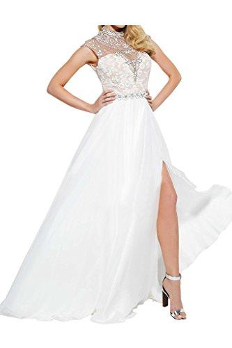 Weiß Abendkleid Festkleid Promkleid Schlitz Steine Rueckenfrei Damen Ivydressing Hochwertig Ow1H7nq