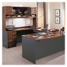 Bush Business Furniture Series C 72W Bowfront Desk Shell in Hansen Cherry by Bush Furniture