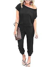 Women's Jumpsuit Crewneck One Off Shoulder Short Sleeve Elastic Waist Romper Playsuits with Pocket