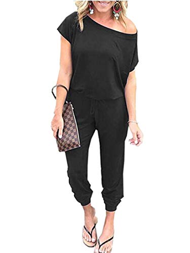 (ANRABESS Women Off Shoulder High Waist Long Beam Foot Pants Jumpsuit Romper Black with Pockets CXJheise-M WFF04)
