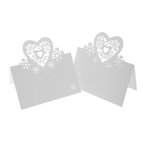 UNIQLED Pack of 60 Laser Cut Love Heart Wedding Table Place Numbers Card Escort Name Paper Cards for Wedding Party Decoration (White)